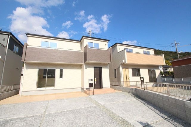 岡山県玉野市奥玉の新築 一戸建て 分譲住宅の外観写真