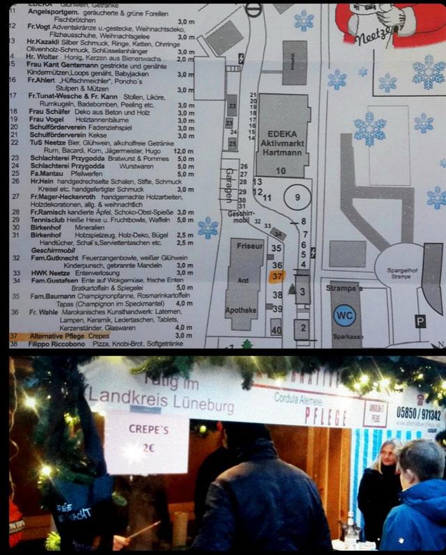 Standplan Weihnachtsmarkt Neetze 2017 Nr.37 Alternative Pflege Crêpes-Stand