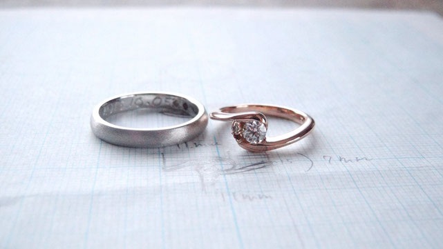 Pt900手作り結婚指輪/K18PG手作り婚約指輪