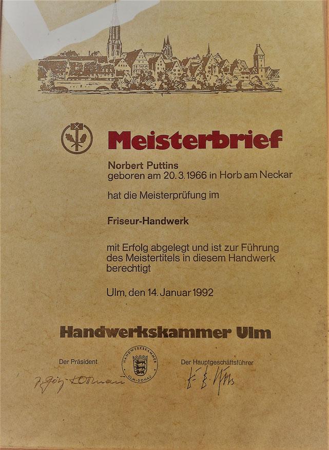 Meisterbrief Friseur Norbert Puttins