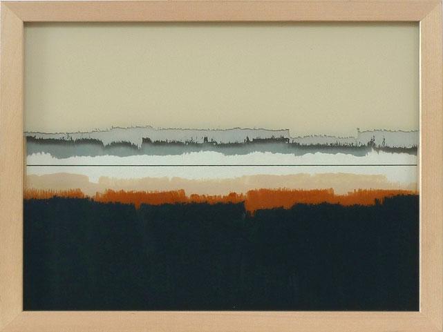8 - Ulrich Erben - Jenseits der Linie - 2014 - Hinterglas dreiteilig - 23,2 x 29,2 cm