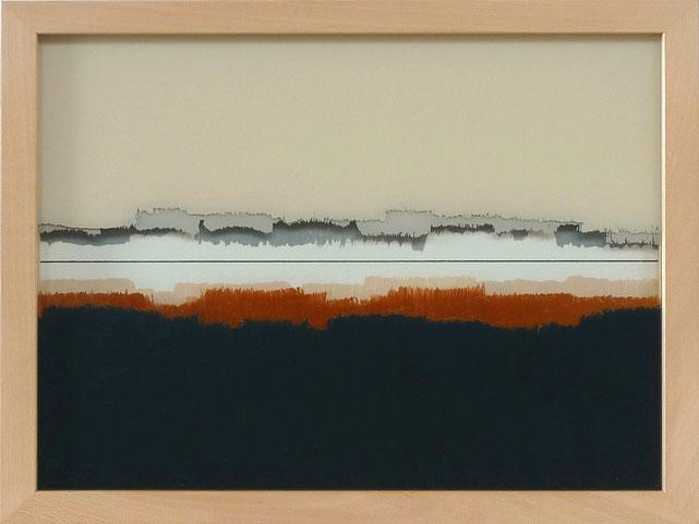 7 - Ulrich Erben - Jenseits der Linie - 2014 - Hinterglas dreiteilig - 23,2 x 29,2 cm