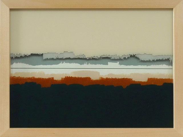 9 - Ulrich Erben - Jenseits der Linie - 2014 - Hinterglas dreiteilig - 23,2 x 29,2 cm