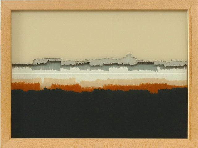 6 - Ulrich Erben - Jenseits der Linie - 2014 - Hinterglas dreiteilig - 23,2 x 29,2 cm