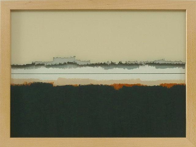 10 - Ulrich Erben - Jenseits der Linie - 2014 - Hinterglas dreiteilig - 23,2 x 29,2 cm