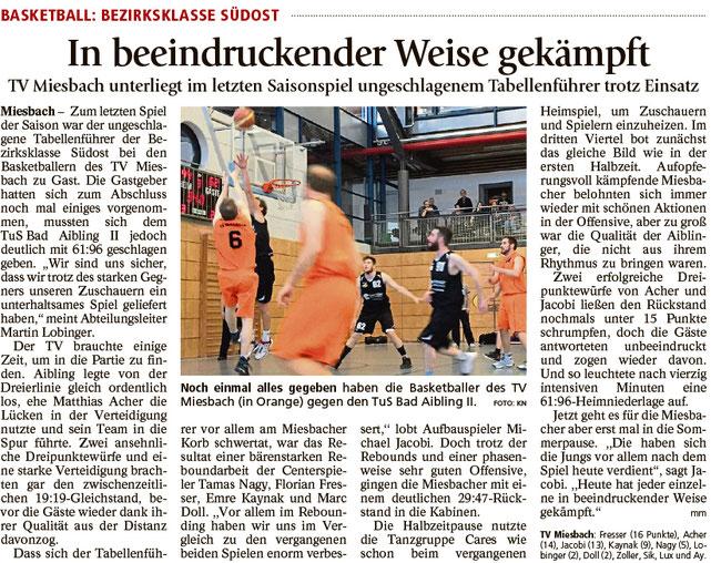 Bericht im Miesbacher Merkur am 28.3.2017 - Zum Vergrößern klicken