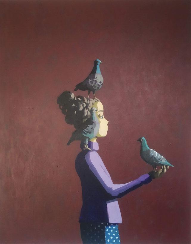pigeons - Acryl auf Leinwand, 100x80cm, 2019