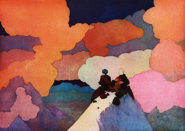 Marc et Florimond, 34cm 48cm, eau forte en trois couleurs, 2018.