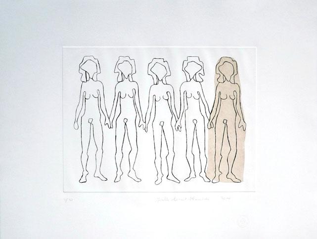 2010. Eau-forte, collage. Format matrice : 300 mm x 400 mm. Tirage : 51 cm x 66 cm sur papier Velin d'Arches. 20 exemplaires.
