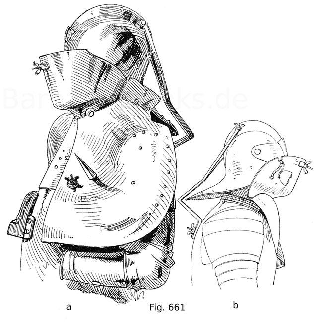 Fig. 661. Sächsischer Turnierharnisch, blank ohne Verzierungen, mit Rennhut, Bart und Achselverstärkung. a. Ansicht von der linken Seite. b. Ansicht von der rechten Seite.