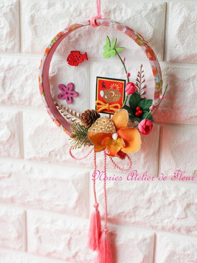 お正月のミニデコレーション ちりめん輪飾り ピンク