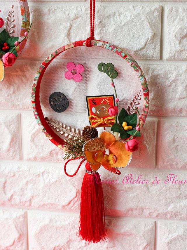 お正月のミニデコレーション ちりめん輪飾り レッド