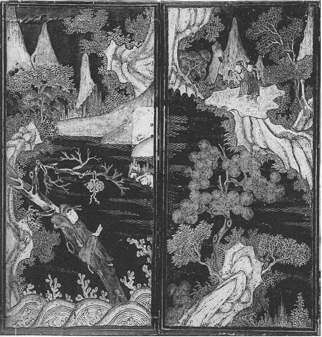 Planche IV. Porte d'armoire. M.-J. BALLOT : Les laques d'Extrême-Orient : Chine et Japon. G. Vanoest, éditeur, Paris et Bruxelles, 1927.