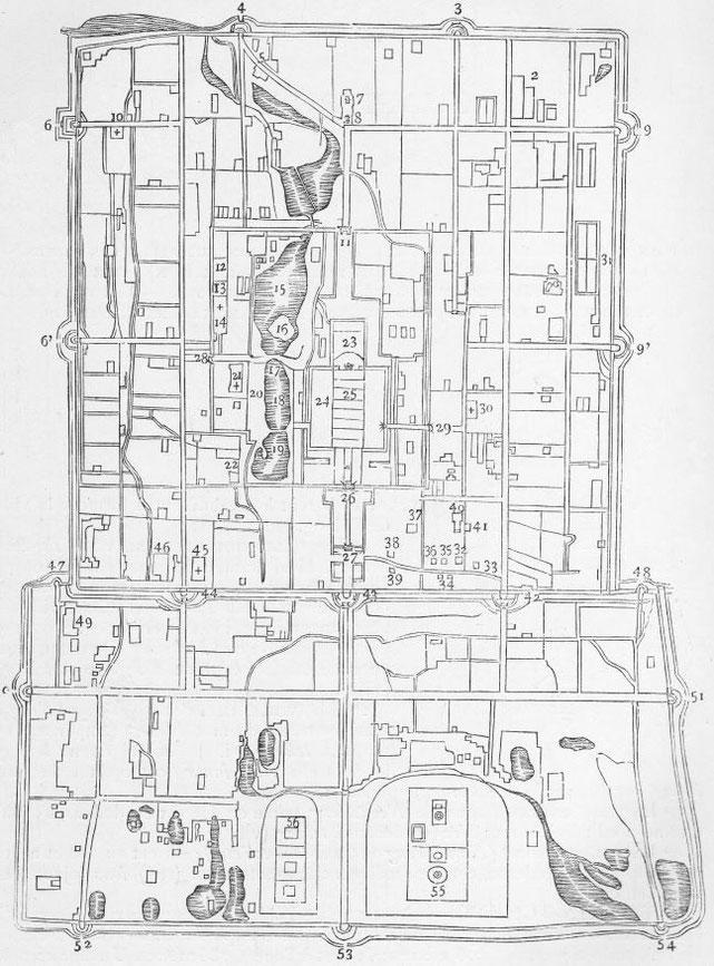 Plan de Péking. Alphonse FAVIER (1837-1905) : Péking. Description. — Desclée de Brouwer, Paris, Lille, 1902, pages 271-408.