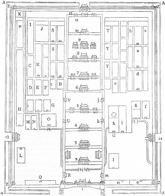 Plan du palais impérial de Péking. Alphonse FAVIER (1837-1905) : Péking. Description. — Desclée de Brouwer, Paris, Lille, 1902, pages 271-408.