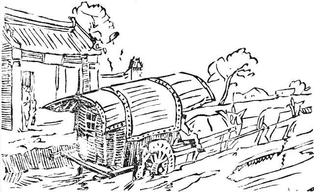 La charretée. Jean Bouchot (1886-1932) : Scènes de la vie des hutungs. Croquis des mœurs pékinoises.