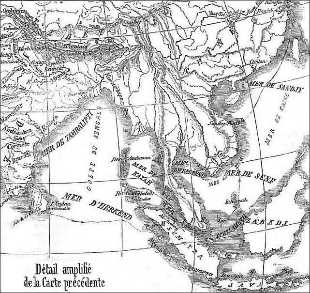 Carte détaillée de la route pour la Chine. Relation des voyages faits par les Arabes et les Persans dans l'Inde et à la Chine. Trad. J.-T. Reinaud. Imprimerie royale, Paris, 1845.