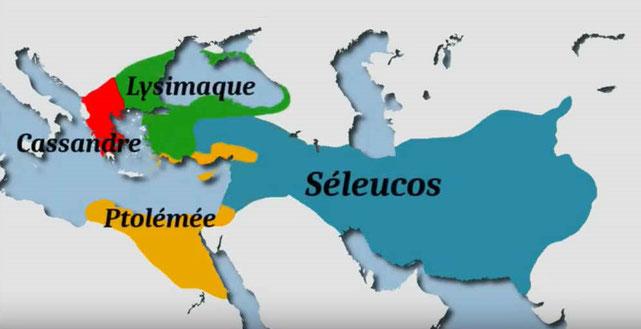 À la mort d'Alexandre le Grand en 323 av J-C, son royaume est divisé entre ses généraux. Les 4 têtes du léopard représentent les quatre généraux qui se partagent le territoire. Séleucus Nicator prend possession de la Mésopotamie et de la Syrie (à l'Est);