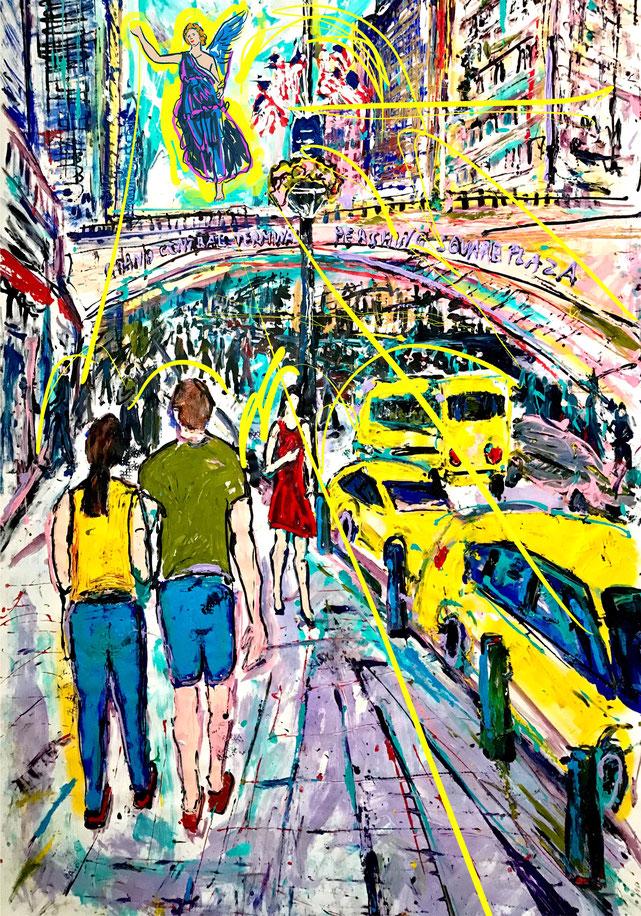 Angels bless NY I/ Acryl auf Leinwand/ 160 cm x 240 cm (Acrylic on canvas/ 62 Inch x 94 Inch)