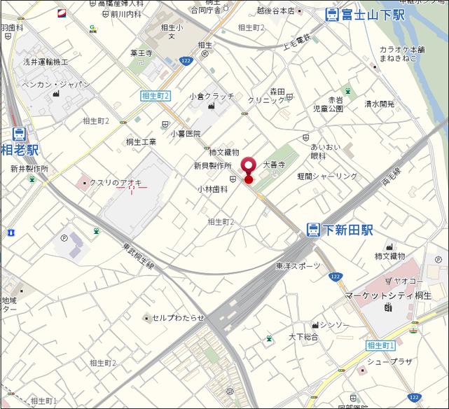 月極貸し駐車場 桐生市相生町2丁目807 エーワンプランニング裏 地図