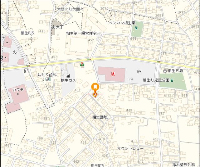 桐生市相生町5-431-19 駐車場 地図