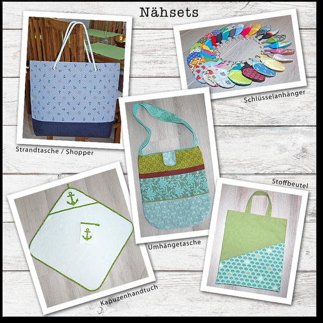 Nähsets Strandtasche / Shopper, Umhängetasche, Kapuzenhandtuch, Stoffbeutel, Schlüsselanhänger