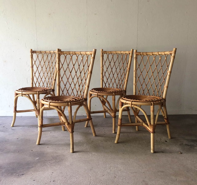 chaises rotin vintage, Louis Sognot, chaise rotin spirale