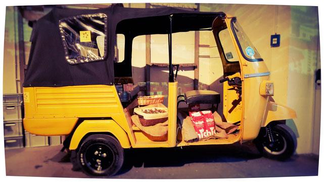 Gasantrieb, Non-Pollution Vehicle, Taxi, Tuc-Tuc, Siebträger, Kaffeebar, Espressobar, Coffee-Bike, Kaffeefahrrad, Kaffeerad, Espressomobil, Espresso Ambulanz