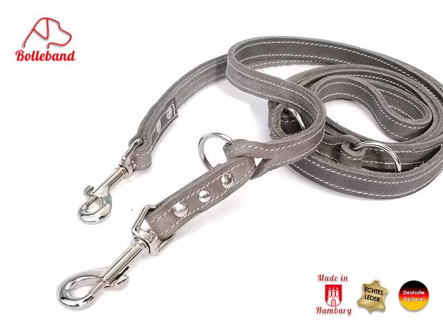 Hundeleine aus Fettleder in der Farbe grau mit heller Doppelnaht 3 Verstellringen und 2 Karabinern von Bolleband