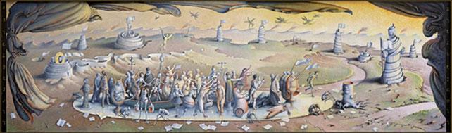 """Fresque """"Le miroir"""", réalisée fin 2009/2011, de 16 m. de large x 6 m. de haut, destinée à l'auditorium du Parkhotel VITZNAU en Suisse (près de Lucerne)"""