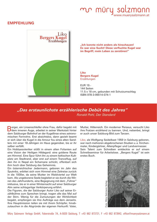 Liko Bergers Kugel Talk@Time with Aygün M. Kulturkreis Wien Müry Salzmann Verlag