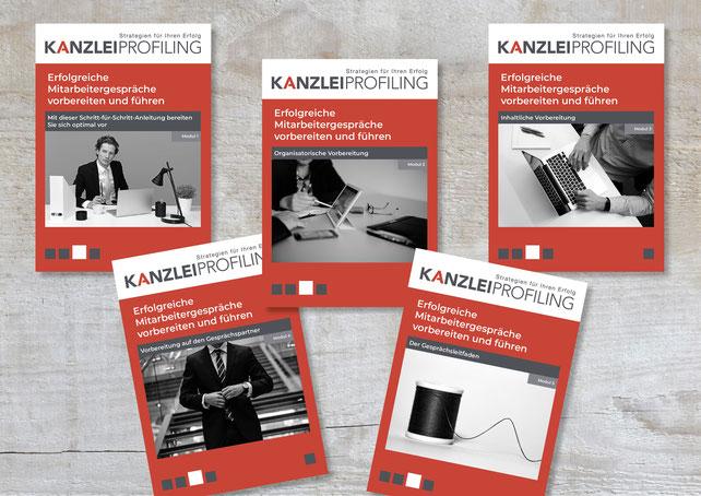 Image Design. 5 Hefte für Kanzlei Profiling Marion Ketteler. Von Funkenflug Design Münster.