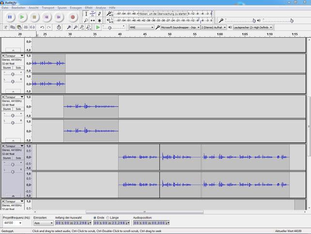 Das ist z.B. der Bildschirm des kostenlosen Aufnahme- und Bearbeitungsprogrammes Audacity für die Vertonung des Videoclips. Kann man aber auch gleich in PowToon erledigen, er Software für die Erstellung der Erklärfilme.