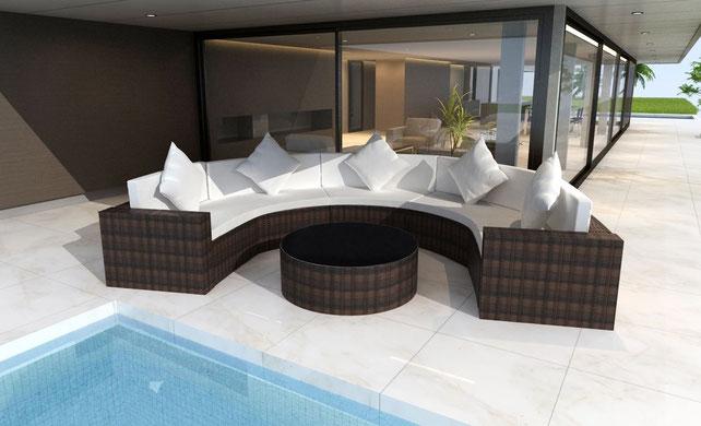 salotto divano polyrattan giardino semicircolare semitondo