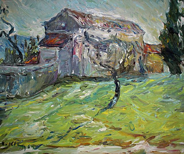 Chapelle St Sixt   2009, Öl auf LW, 46 cm x 55 cm