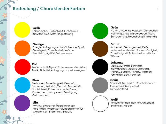 Bedeutung der Farben Farbcharakter