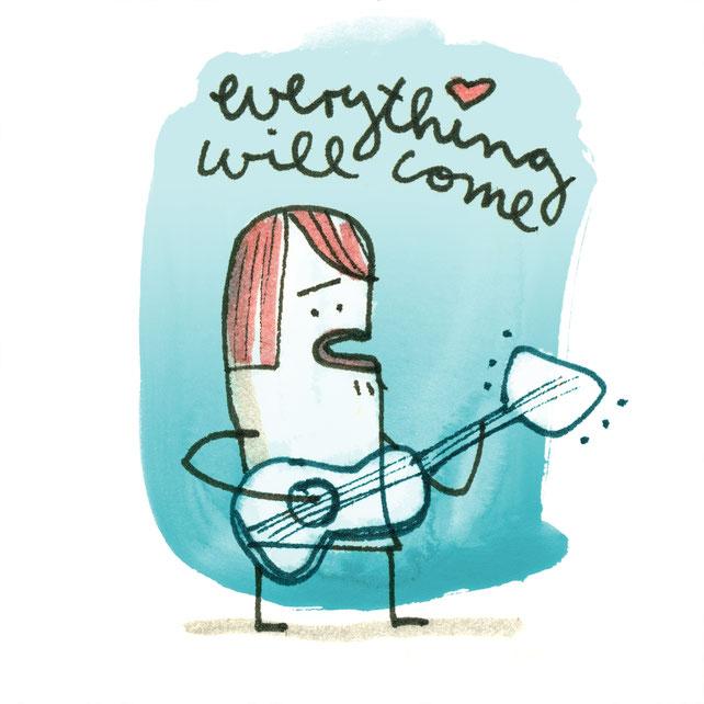 Zeichnung mit Tusche auf Papier von Frank Schulz zeigt einen kleinen Musiker mit Gitarre
