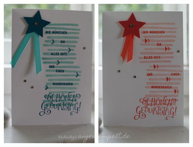 Coole Karte zum Geburtstag, mit selbst zusammengestempeltem Text - Patricia Stich 2016