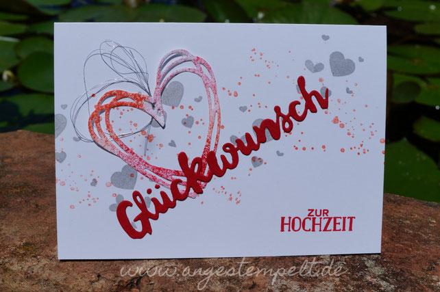 Frische, lockere Glückwunschkarte zur Hochzeit - Patricia Stich , SU 2016