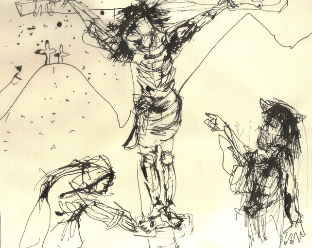 Crucifixion IV / 2000 / Encre de chine sur papier / 24 x 18,5 cm / Collection privée