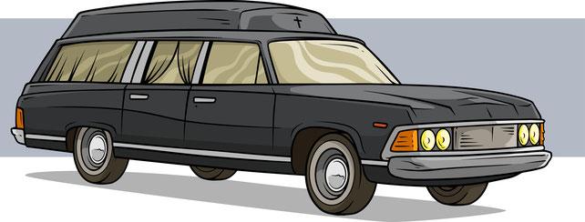 Schwarzer Bestattungswagen