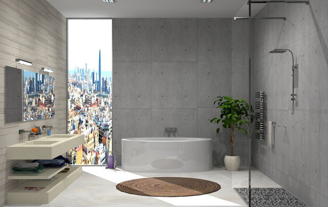 3D Interior Design - Bathroom Grey