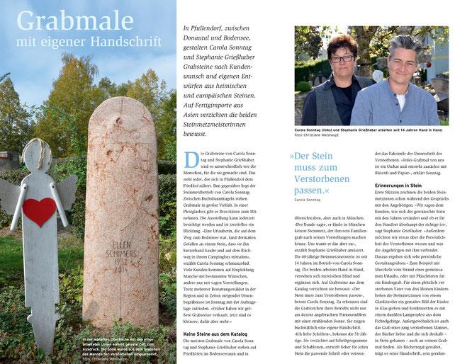 Artikel aus der Naturstein Fachzeitschrift über Carola Sonntag und Stephanie Griesshaber vom Grabstein Betrieb Erinnerungen in Stein aus Pfullendorf