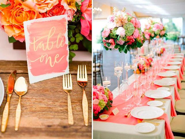 boda color coral - decoracion para fiestas