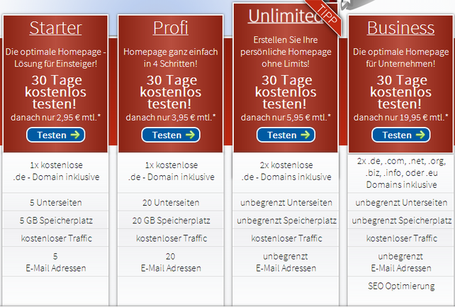 Webgo24 Homepage Preise