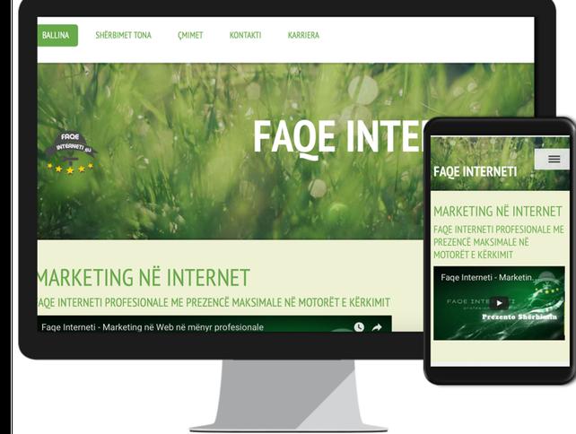 Faqe interneti Professionale per sherbimet dhe produktet tuaja