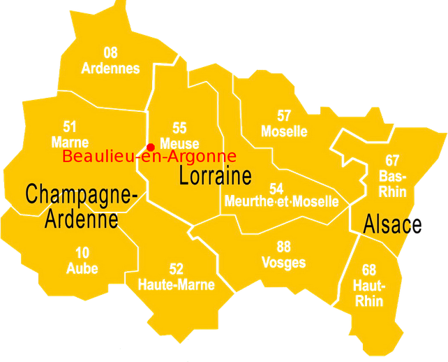 Situation de Beaulieu-en-Argonne - Carte Région ALCA