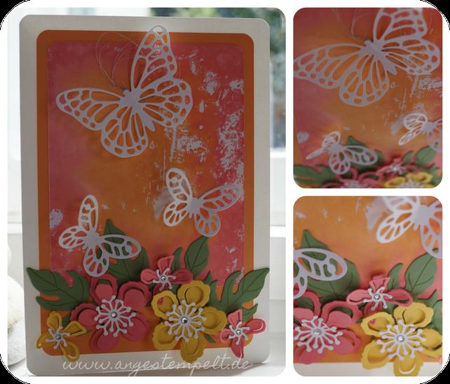 Blumen und Schmetterlinge auf gestempeltem Hintergrund - Patricia Stich, unabhängige Stampin´Up! Demonstratorin