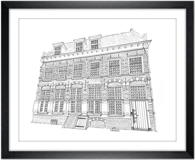 Huisportret  Potlood en Pen Erna Sinnige Designs Houseportrait