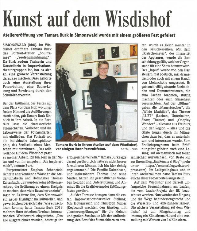 Badische Zeitung, Tamara Burk, Eröffnung Atelier, Wisdishof